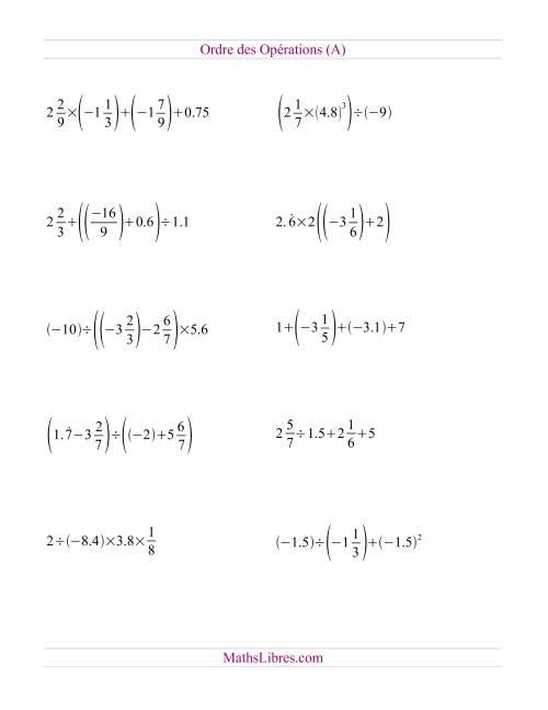 La Ordre des opérations avec fractions et nombres décimaux -- Toutes opérations (A) Fiche d'Exercices sur l'Ordre des Opérations