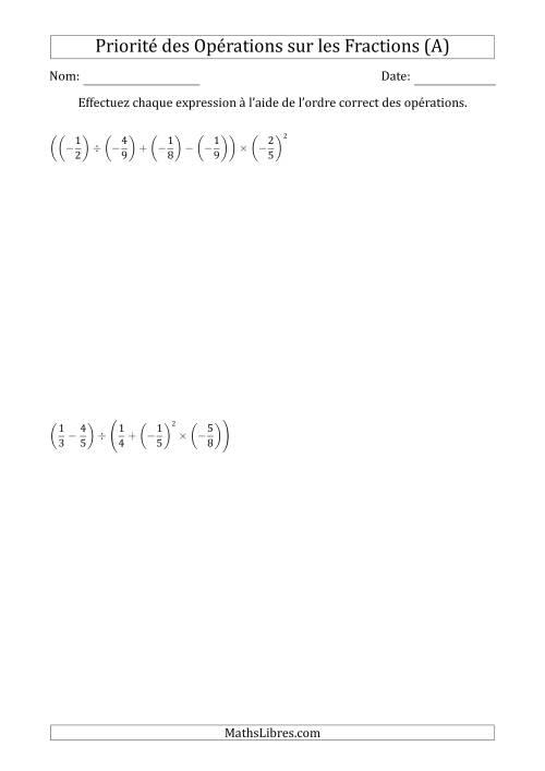 La Ordre des opérations avec fractions (cinq étapes) -- Toutes opérations (A) Fiche d'Exercices sur l'Ordre des Opérations