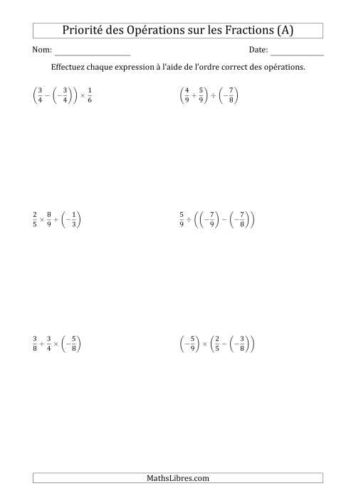 La Ordre des opérations avec fractions (deux étapes) -- Toutes opérations (A) Fiche d'Exercices sur l'Ordre des Opérations