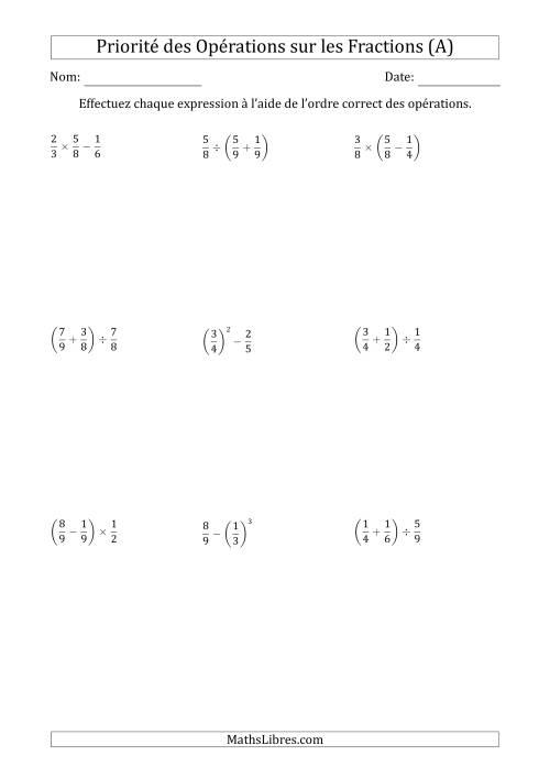 La Ordre des opérations avec fractions (deux étapes) -- Toutes opérations (nombres positifs seulement) (A) Fiche d'Exercices sur l'Ordre des Opérations