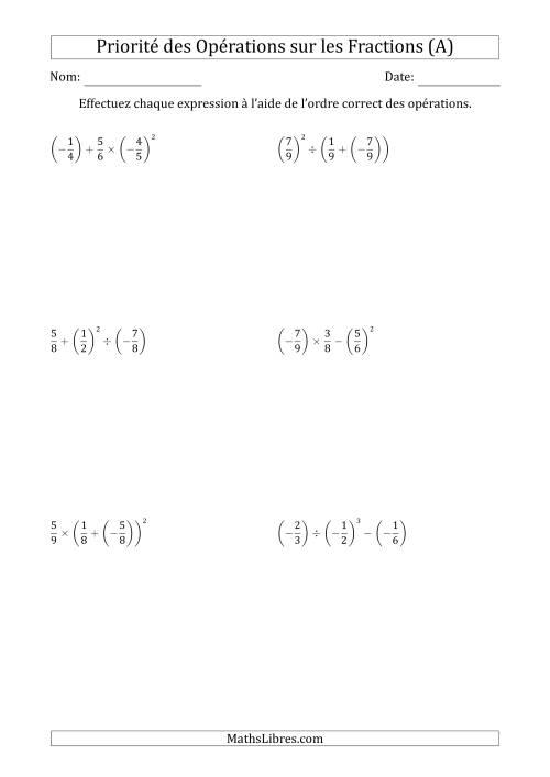 La Ordre des opérations avec fractions (trois étapes) -- Toutes opérations (A) Fiche d'Exercices sur l'Ordre des Opérations