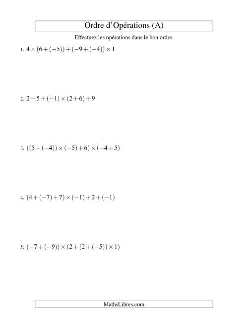 La Ordre des opérations avec nombres entiers (cinq étapes) -- Addition et multiplication (A) Fiche d'Exercices sur l'Ordre des Opérations