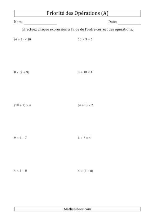 La Ordre des opérations avec nombres entiers (deux étapes) -- Addition et multiplication (nombres positifs seulement) (A) Fiche d'Exercices sur l'Ordre des Opérations