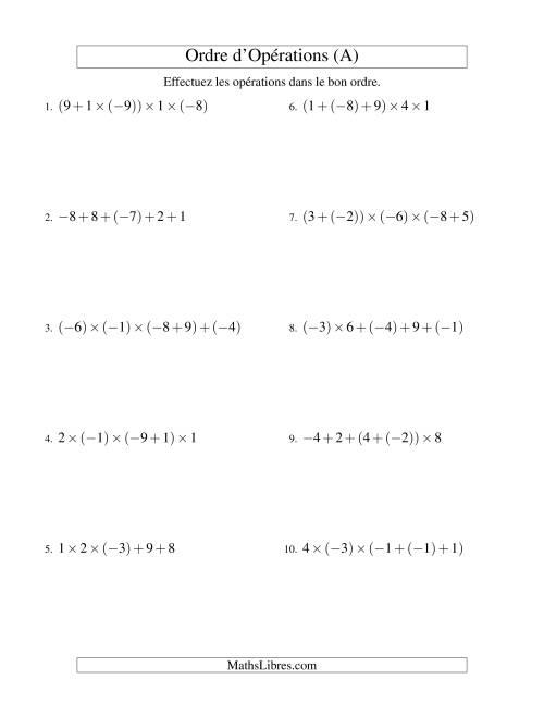 La Ordre des opérations avec nombres entiers (quatre étapes) -- Addition et multiplication (A) Fiche d'Exercices sur l'Ordre des Opérations