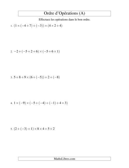 La Ordre des opérations avec nombres entiers (six étapes) -- Addition et multiplication (A) Fiche d'Exercices sur l'Ordre des Opérations