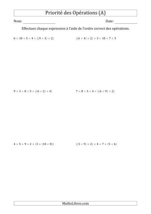 La Ordre des opérations avec nombres entiers (six étapes) -- Addition et multiplication (nombres positifs seulement) (A) Fiche d'Exercices sur l'Ordre des Opérations