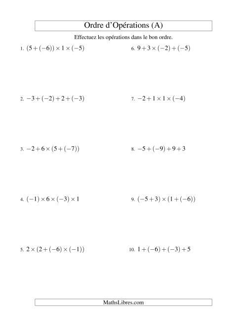La Ordre des opérations avec nombres entiers (trois étapes) -- Addition et multiplication (A) Fiche d'Exercices sur l'Ordre des Opérations