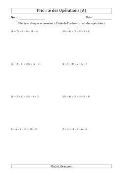 Ordre des opérations avec nombres entiers (cinq étapes) -- Addition, soustraction et multiplication (nombres positifs seulement) (A)