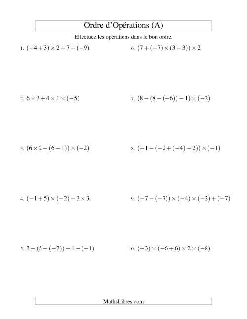 La Ordre des opérations avec nombres entiers (quatre étapes) -- Addition, soustraction et multiplication (A) Fiche d'Exercices sur l'Ordre des Opérations