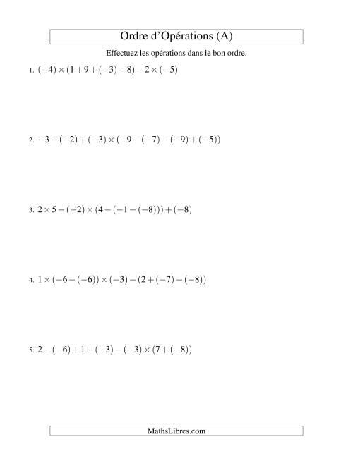 La Ordre des opérations avec nombres entiers (six étapes) -- Addition, soustraction et multiplication (A) Fiche d'Exercices sur l'Ordre des Opérations