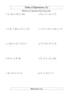 Ordre des opérations avec nombres entiers (trois étapes) -- Addition, soustraction et multiplication (A)