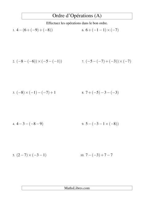 La Ordre des opérations avec nombres entiers (trois étapes) -- Addition, soustraction et multiplication (A) Fiche d'Exercices sur l'Ordre des Opérations