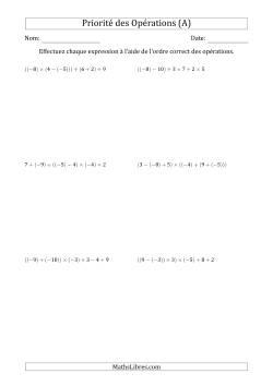 Ordre des opérations avec nombres entiers (cinq étapes) -- Addition, soustraction, multiplication et division (A)
