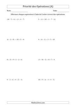 Ordre des opérations avec nombres entiers (cinq étapes) -- Addition, soustraction, multiplication et division (nombres positifs seulement) (A)