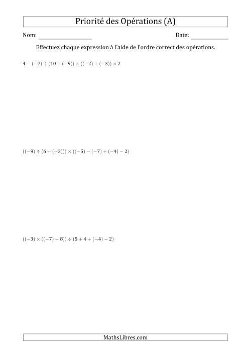 La Ordre des opérations avec nombres entiers (six étapes) -- Addition, soustraction, multiplication et division (A) Fiche d'Exercices sur l'Ordre des Opérations