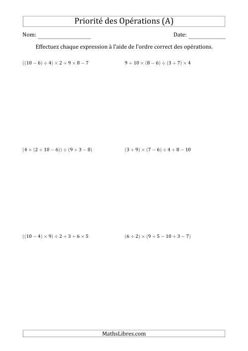 La Ordre des opérations avec nombres entiers (six étapes) -- Addition, soustraction, multiplication et division (nombres positifs seulement) (A) Fiche d'Exercices sur l'Ordre des Opérations