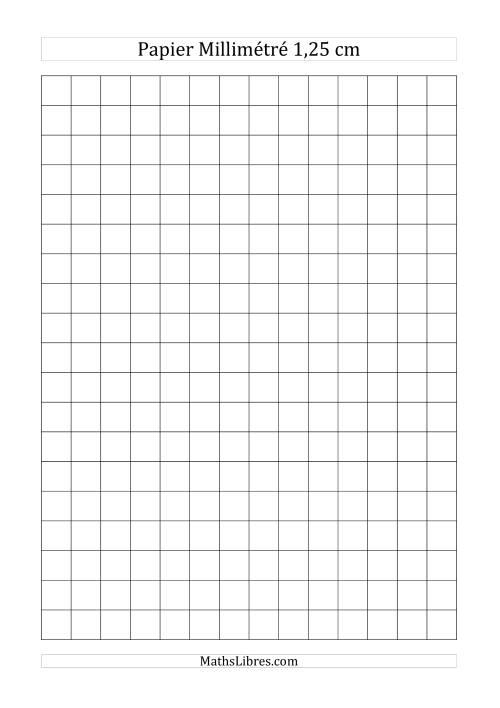 La Papier millimétré 1,25cm (noir) Papier à Graphique