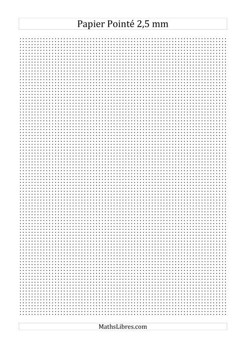 La Papier pointé métrique 2,5mm (noir) Papier à Graphique