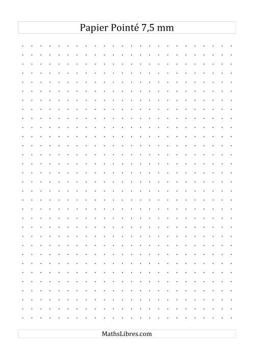 La Papier pointé métrique 7,5mm (noir) Papier à Graphique