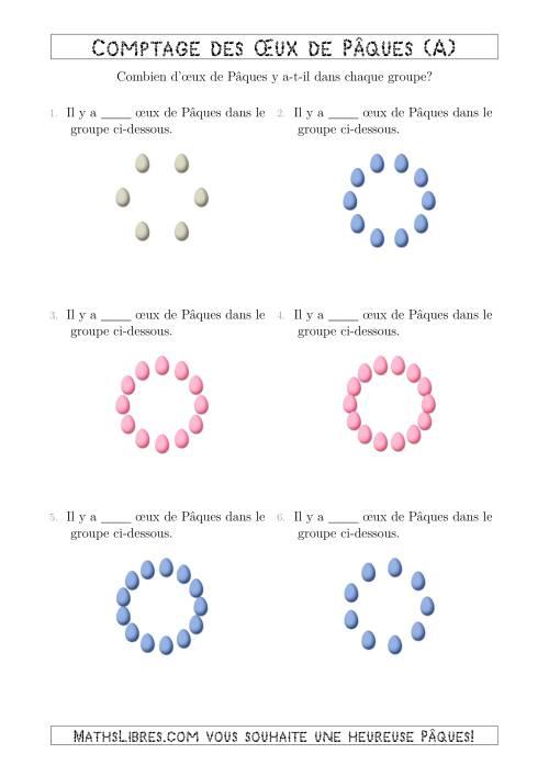 La Comptage des Œux de Pâques Arrangés en Forme Circulaire (A) Fiche d'Exercices pour la Pâques