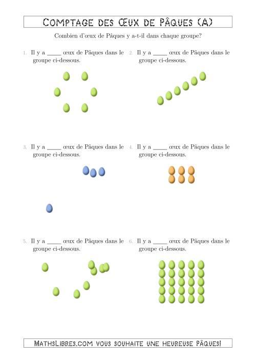 La Comptage des <span>Œux de Pâques Arrangés en Formes Diverses (A) Fiche d'Exercices pour la Pâques