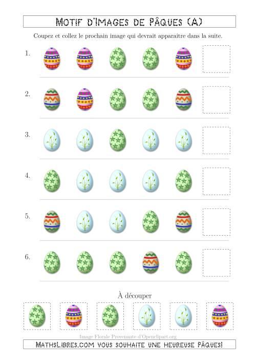 La Motif d'Images de Pâques avec la Forme Comme Attribut Seulement (A) Fiche d'Exercices pour la Pâques