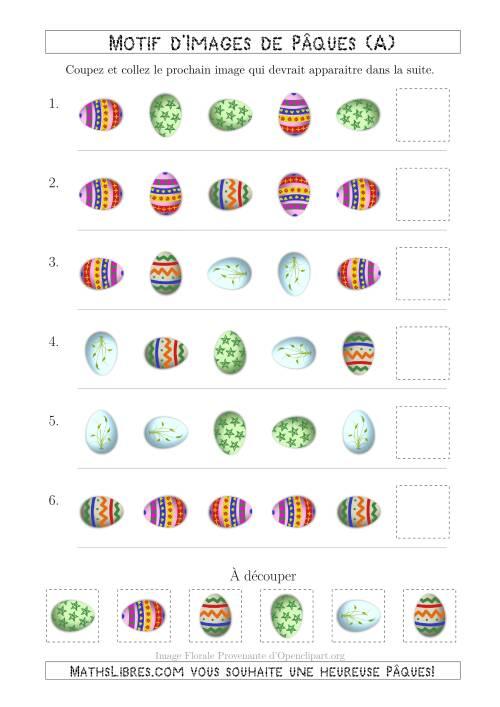La Motif d'Images de Pâques avec la Forme & la Rotation Comme Attributs (A) Fiche d'Exercices pour la Pâques