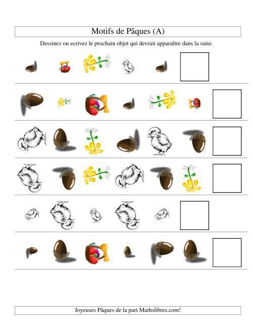 La Motifs de Pâques avec Une Seule Particularité (forme, taille & rotation) (A) Fiche d'Exercices des Maths pour Pâques