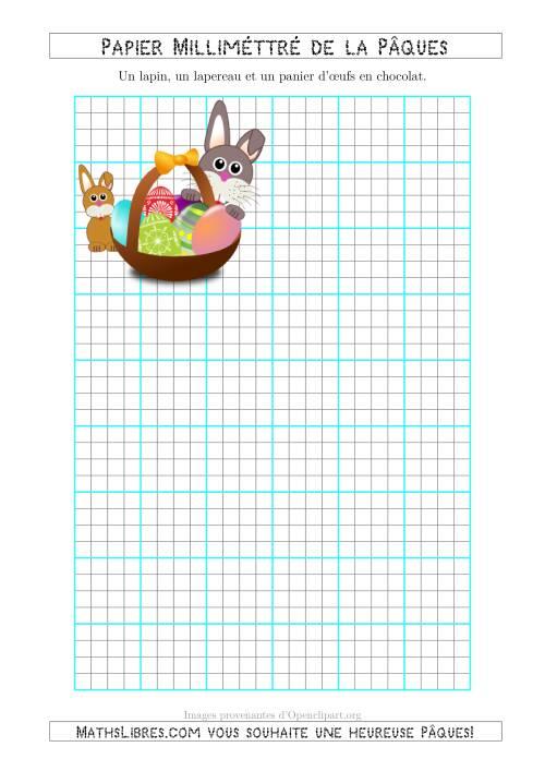 La Papier Milliméttré de la Pâques Avec un Lapin, un Lapereau et un Panier d'Œux en Chocolat (1/4 Pouce) (A) Fiche d'Exercices pour la Pâques