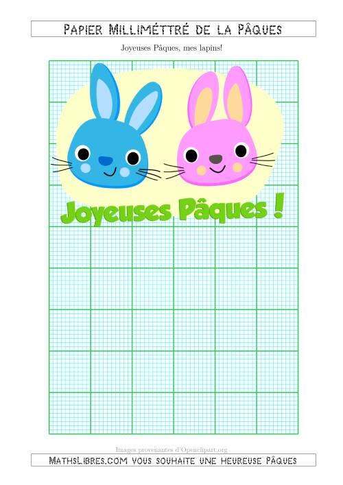 La Papier Milliméttré de la Pâques Avec Deux Lapins de Pâques (10 Lignes par Pouce) (A) Fiche d'Exercices pour la Pâques