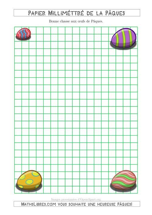 La Papier Milliméttré de la Pâques Avec des Œux de Pâques (1 cm) (A) Fiche d'Exercices pour la Pâques
