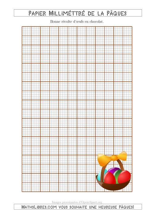 La Papier Milliméttré Métrique de la Pâques Avec un Panier de Chocolats (3 Lignes) (A) Fiche d'Exercices pour la Pâques