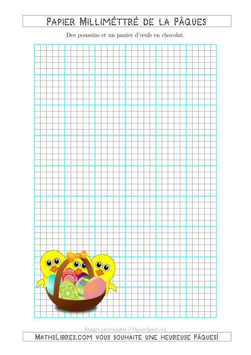 La Papier Milliméttré de la Pâques Avec des Poussins et un Panier d'Œux en Chocolat (5 Lignes par Pouce) (A) Fiche d'Exercices pour la Pâques