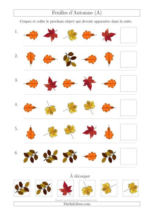 La Patrons des Feuilles d'Automne avec Deux Particularités (Forme et Rotation) (A) Fiche d'Exercices sur les Patrons