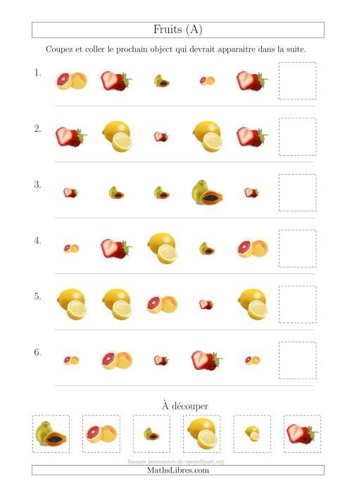 La Patrons des Fruits avec Deux Particularités (Forme et Taille) (A) Fiche d'Exercices sur les Patrons