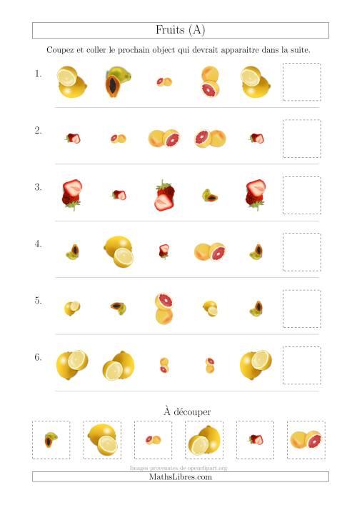 La Patrons des Fruits avec Trois Particularités (Forme, Taille et Rotation) (A) Fiche d'Exercices sur les Patrons