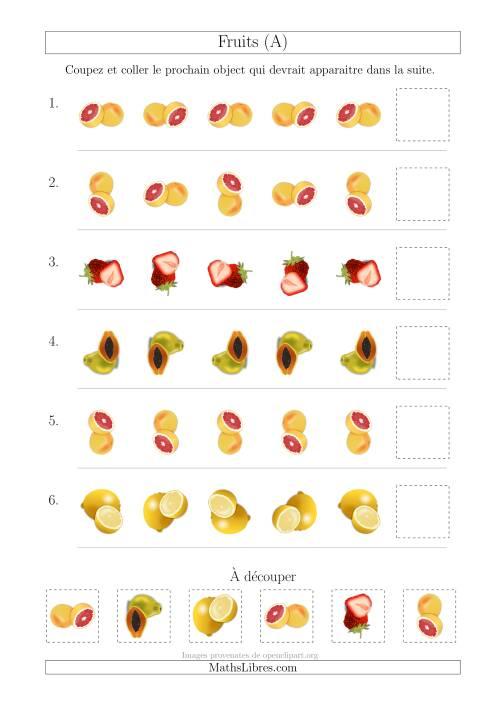 La Patrons des Fruits avec Une Seule Particularité (Rotation) (A) Fiche d'Exercices sur les Patrons