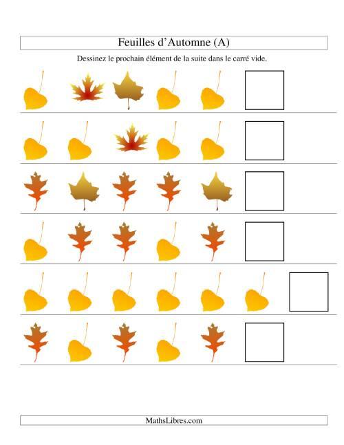 La Suites d'images -- Feuilles d'automnes -- Un attribut (A) Fiche d'Exercices sur les Patrons