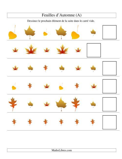 La Suites d'images -- Feuilles d'automnes -- Deux attributs (A) Fiche d'Exercices sur les Patrons