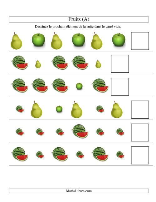 La Suites d'images -- Fruits -- Deux attributs (A) Fiche d'Exercices sur les Patrons