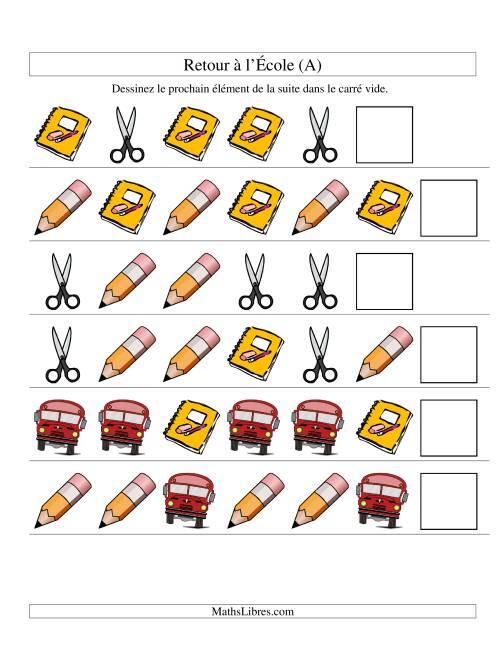 La Suites d'images -- Retour à l'école -- Un attribut (A) Fiche d'Exercices sur les Patrons