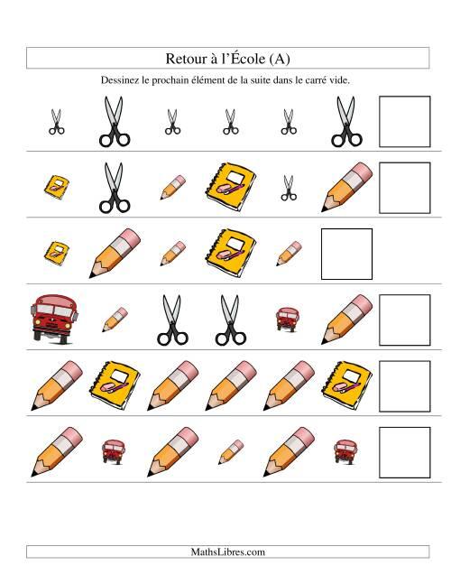 La Suites d'images -- Retour à l'école -- Deux attributs (A) Fiche d'Exercices sur les Patrons
