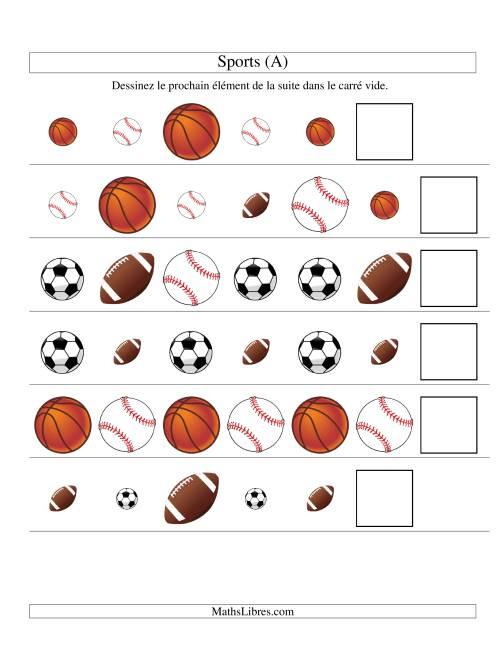 La Suites d'images -- Sports -- Deux attributs (A) Fiche d'Exercices sur les Patrons