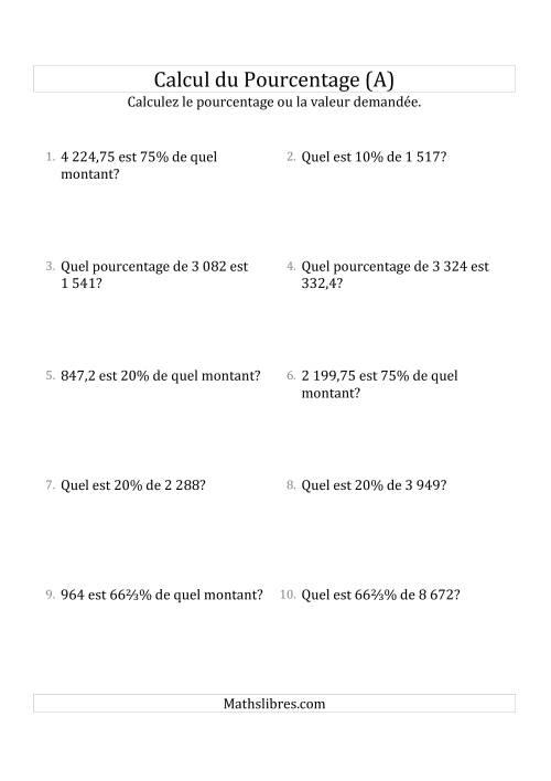 La Problèmes de Pourcentage Mixtes avec des Montants de Nombres Décimaux et la Sélection de Pourcentages (A) Fiche d'Exercices sur les Pourcentages