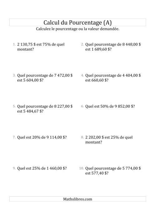 La Problèmes de Pourcentage Mixtes avec des Montants de Nombres Décimaux et la Sélection de Pourcentages (Sommes en Dollars) (A) Fiche d'Exercices sur les Pourcentages