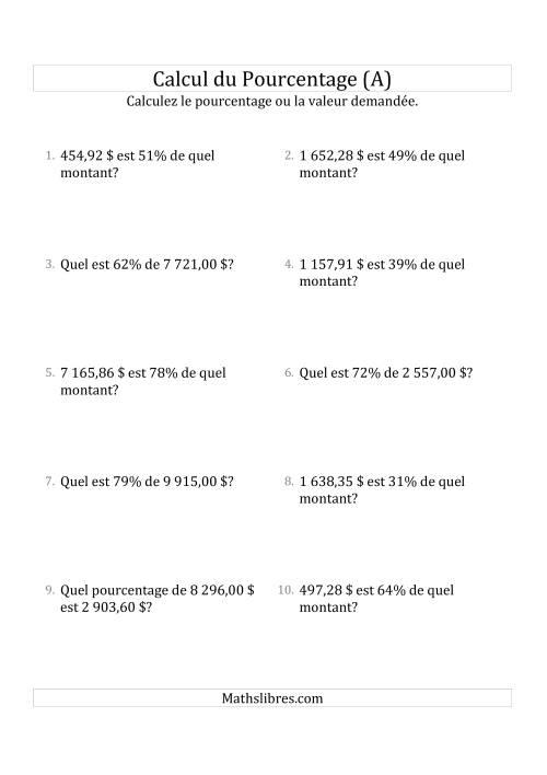 La Problèmes de Pourcentage Mixtes avec des Montants de Nombres Décimaux et des Pourcentages Variant de 1 à 99 (Sommes en Dollars) (A) Fiche d'Exercices sur les Pourcentages