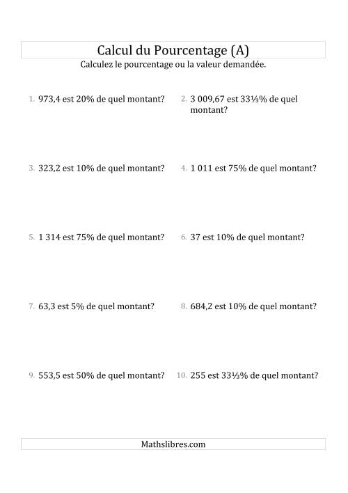 La Calcul du Montant Original des Nombres Décimaux et la Sélection de Pourcentages (A) Fiche d'Exercices sur les Pourcentages