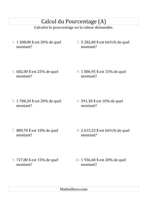 La Calcul du Montant Original des Nombres Décimaux et la Sélection de Pourcentages (Sommes en Dollars) (A) Fiche d'Exercices sur les Pourcentages