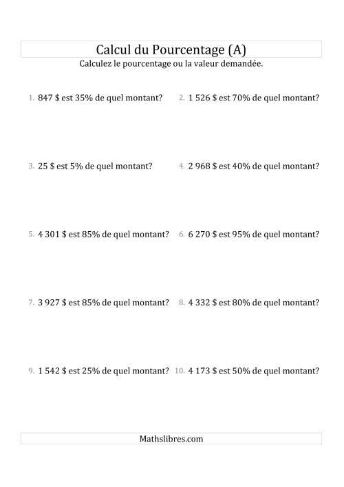 La Calcul du Montant Original des Nombres Entiers et des Pourcentages Multiples de 5 (Sommes en Dollars) (A) Fiche d'Exercices sur les Pourcentages