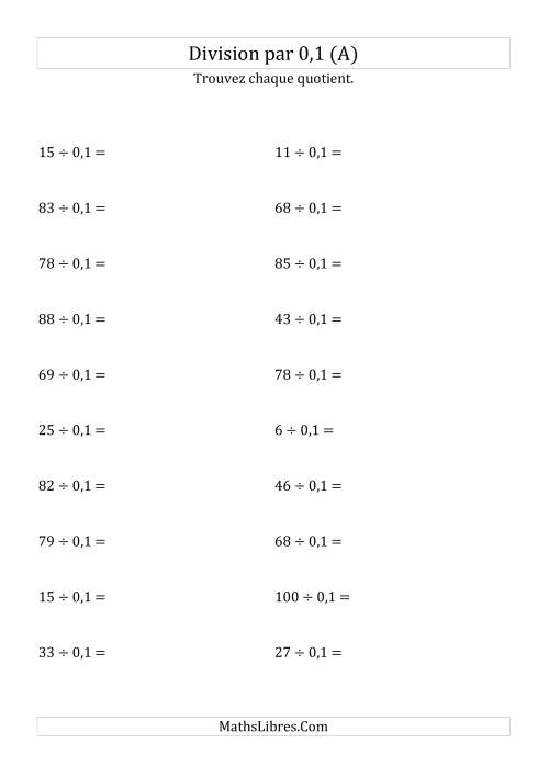 La Division de nombres entiers par 0,1 (A) Fiche d'Exercices sur les Puissances de Dix